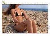 Beautiful Sexy Woman In Bikini Relaxing On A Rocky Seashore Carry-all Pouch