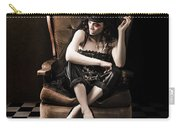Beautiful Vintage Fashion Girl In Grunge Interior Carry-all Pouch by Jorgo Photography - Wall Art Gallery