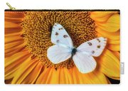 Beautiful White Butterfly On Sunflower Carry-all Pouch