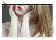 Beautiful White Woman On Red Chair Carry-all Pouch