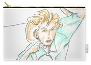 Beautiful Woman, Reclining -- Portrait Of Woman On Floor Carry-all Pouch