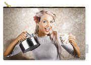 Beautiful Young Retro Woman With Cup Of Coffee Carry-all Pouch