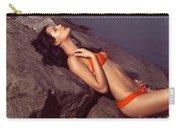 Beautiful Young Woman In Orange Bikini Carry-all Pouch