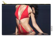Beautiful Young Woman In Red Swimsuit Standing In Water Carry-all Pouch