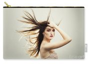 Beautiful Young Woman With Windswept Hair Carry-all Pouch