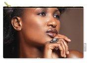Beauty Portrait Of Black Woman Wearing Jewelry Carry-all Pouch