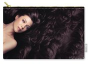 Beauty Portrait Of Woman Surrounded By Long Brown Hair  Carry-all Pouch