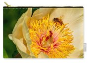 Bee And A Pale Yellow Early Glow Peony Carry-all Pouch