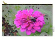 Bee Feeding From Pink Zinnia Carry-all Pouch