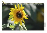 Bee Flying To Bright Lemon Yellow Wild Sunflower In High California Sun Carry-all Pouch