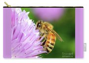Bee On Chive Flower Carry-all Pouch by Ann E Robson