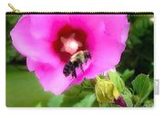 Bee On Edge Of A Hibiscus Flower Carry-all Pouch