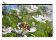 Bee On Flower On Tree Branch Carry-all Pouch