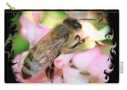 Bee On Pink Flower With Swirly Framing Carry-all Pouch