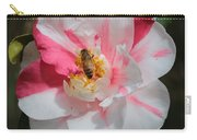 Bee On White And Pink Camellia Carry-all Pouch