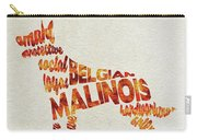 Belgian Malinois Watercolor Painting / Typographic Art Carry-all Pouch