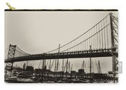 Ben Franklin Bridge From The Marina In Black And White. Carry-all Pouch