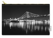 Benjamin Franklin Bridge - Black And White At Night Carry-all Pouch