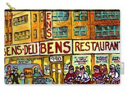 Ben's Famous Smoked Meat Montreal Memories Canadian Paintings Hockey Scenes And Landmarks  C Spandau Carry-all Pouch