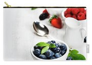 Berries In Bowls  On Wooden Background. Carry-all Pouch