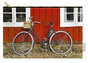 Bicycle In Front Of Red House In Sweden Carry-all Pouch