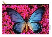 Big Blue Butterfly On Kalanchoe Flowers Carry-all Pouch