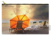 Big Orange Beach Umbrella Watercolor Painting Carry-all Pouch