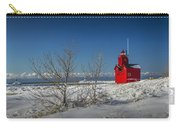 Big Red Lighthouse In Winter Carry-all Pouch