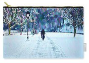 Bike Riding In The Snow Carry-all Pouch by Bill Cannon