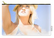 Bikini Lady Against Blue Sky Background Carry-all Pouch