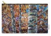 Birch Trees Oil Painting With Palette Knife  Carry-all Pouch