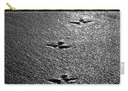 Bird Prints In The Sand Black And White Carry-all Pouch