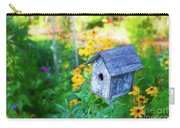 Birdhouse And Flowers Carry-all Pouch