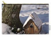 Birdhouse In Snow Carry-all Pouch