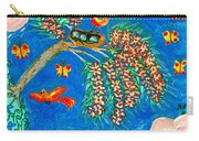Birds And Nest In Flowering Tree Carry-all Pouch by Sushila Burgess