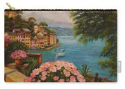 Bird's Eye View Of Portofino Carry-all Pouch by Charlotte Blanchard