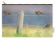 Birds On A Barbed Wire Fence Carry-all Pouch