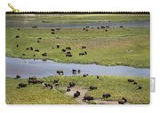 Bison Herd And Yellowstone River Carry-all Pouch