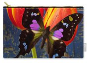 Black And Pink Butterfly Carry-all Pouch