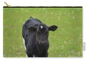 Black And White Calf Standing In A Field Carry-all Pouch