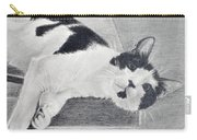 Black And White Cat Lounging Carry-all Pouch