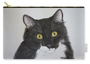Black And White Cat Carry-all Pouch by Megan Cohen