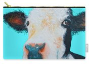 Black And White Cow On Blue Background Carry-all Pouch