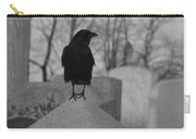 Black And White Crow On Gray Stone Carry-all Pouch