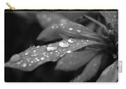 Black And White Dewy Petals Carry-all Pouch