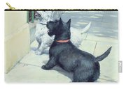 Black And White Dogs Carry-all Pouch by Septimus Edwin Scott