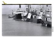 Black And White Fishing Boats On The Dock Carry-all Pouch