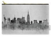 Black And White New York Skylines Splashes And Reflections Carry-all Pouch