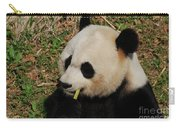 Black And White Panda Bear Eating Green Bamboo Shoots Carry-all Pouch