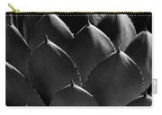 Black And White Photographic Detail Of California Cabbage Cactus Agave Carry-all Pouch